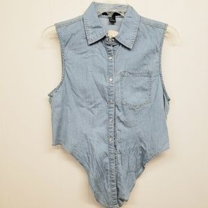 NWT! Light Denim Tie Front Button Top